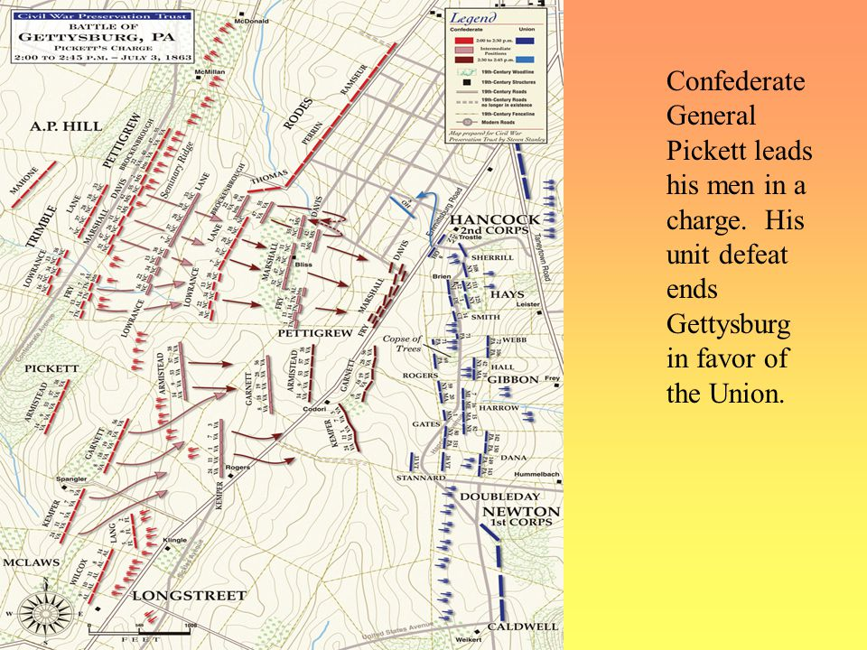 Confederate General Pickett leads his men in a charge
