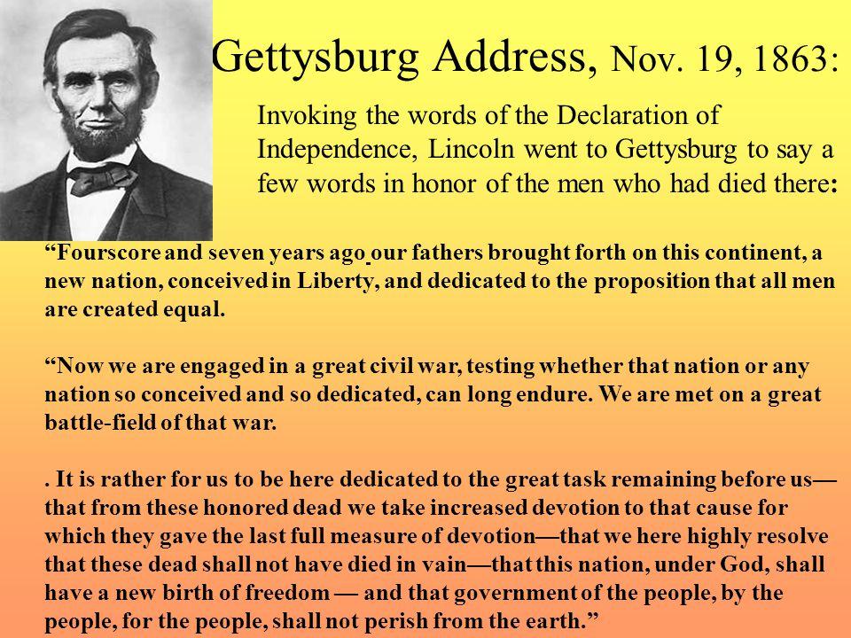 Gettysburg Address, Nov. 19, 1863: