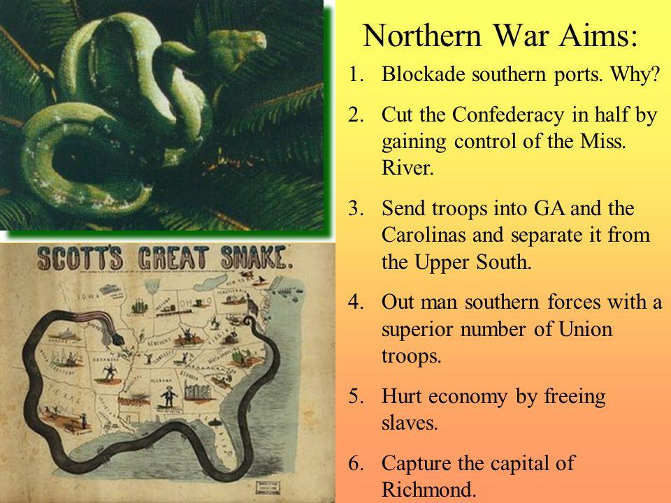 Northern War Aims: Blockade southern ports. Why