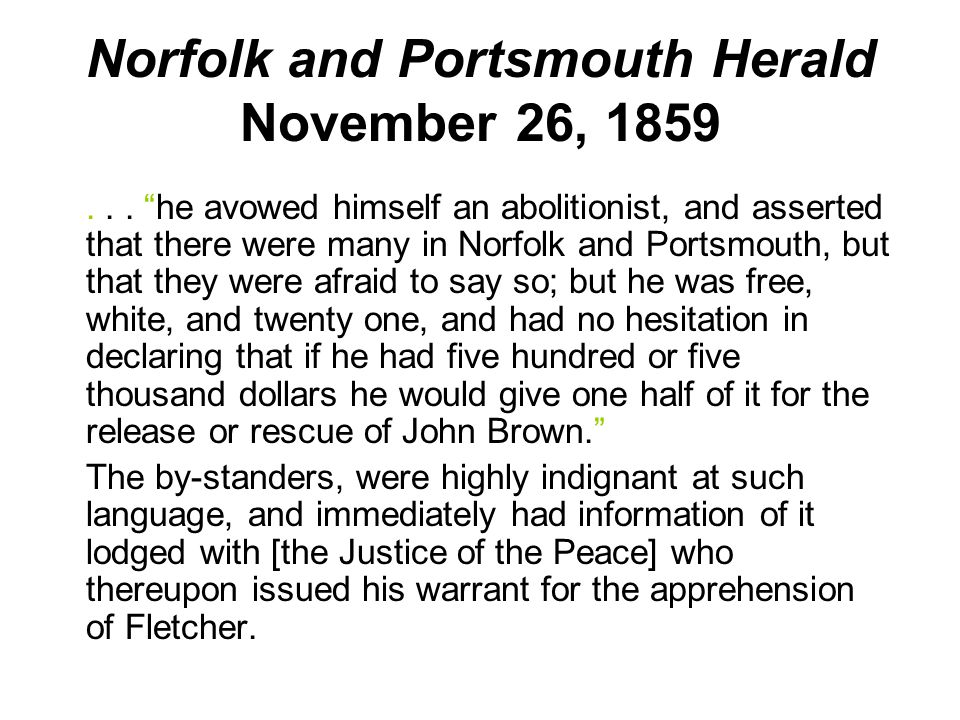 Norfolk and Portsmouth Herald November 26, 1859