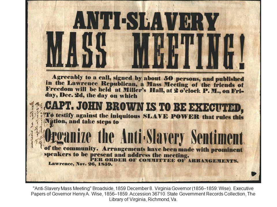 Anti-Slavery Mass Meeting Broadside, 1859 December 8