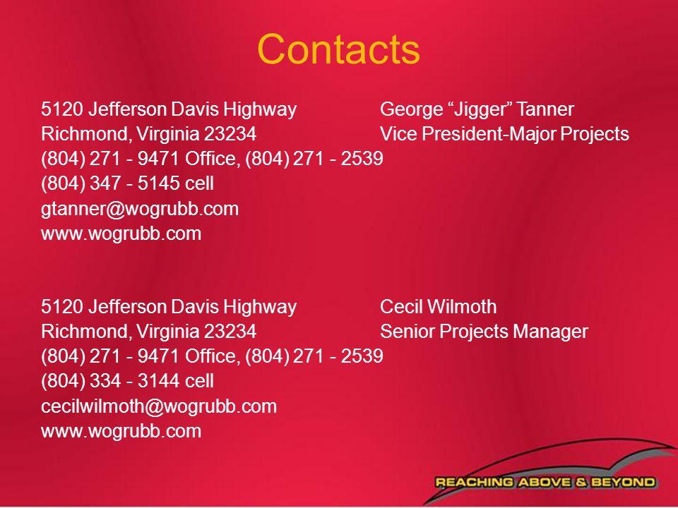 Contacts 5120 Jefferson Davis Highway George Jigger Tanner