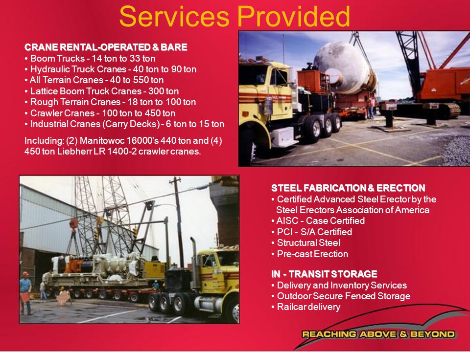 Services Provided CRANE RENTAL-OPERATED & BARE
