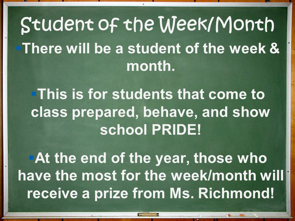 Student of the Week/Month