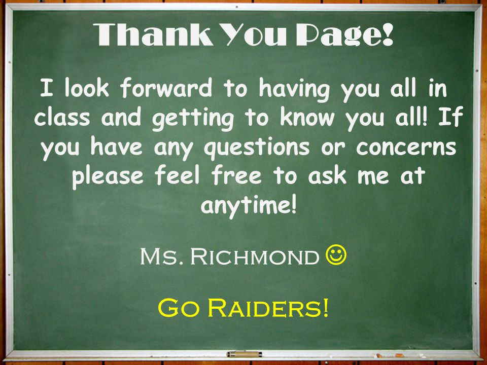 Thank You Page! Go Raiders!