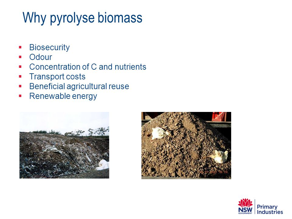 Why pyrolyse biomass Biosecurity Odour
