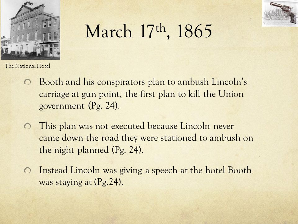 March 17th, 1865 The National Hotel.