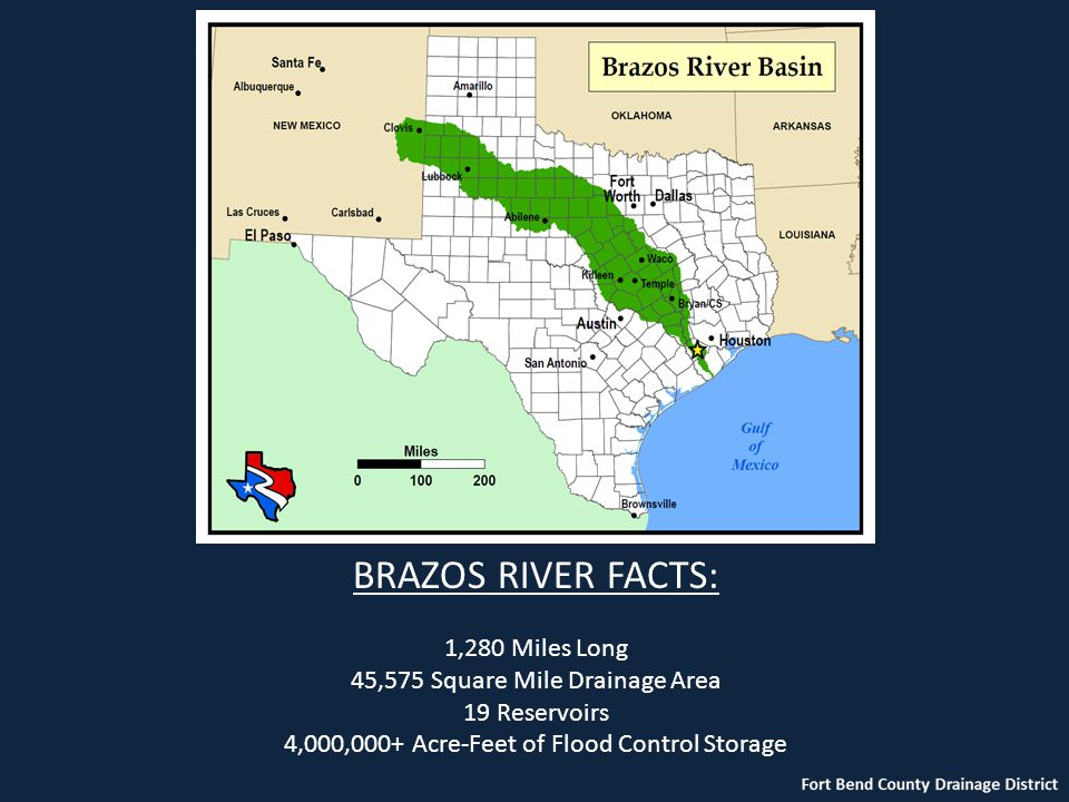BRAZOS RIVER FACTS: 1,280 Miles Long 45,575 Square Mile Drainage Area