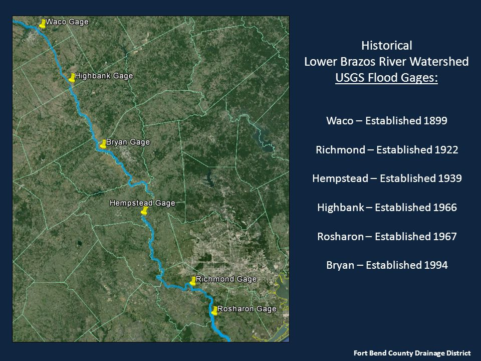 Lower Brazos River Watershed USGS Flood Gages:
