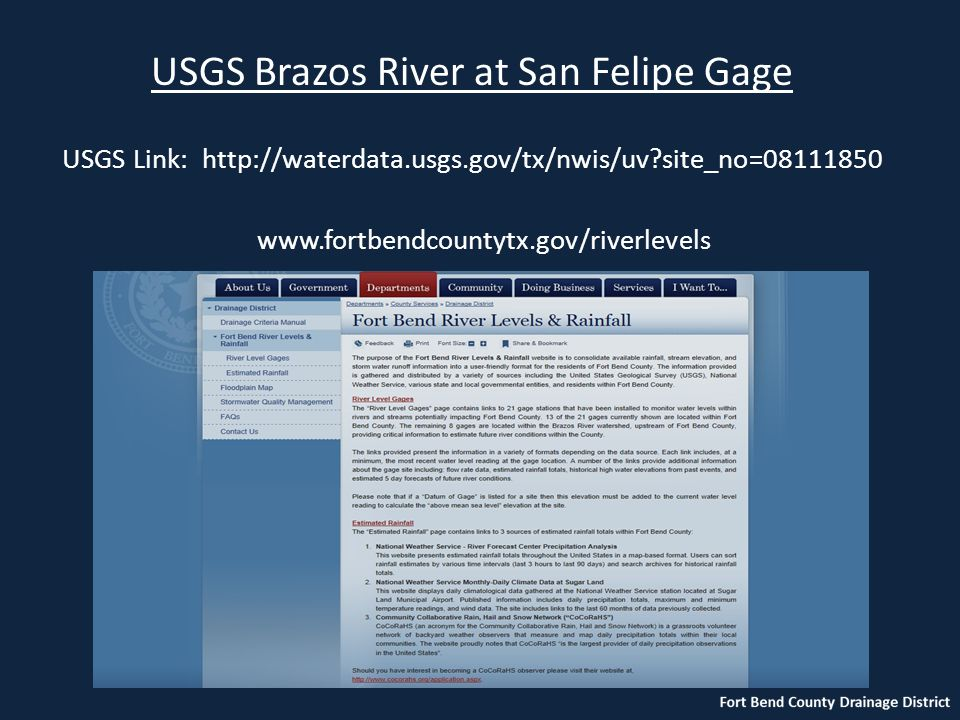 USGS Brazos River at San Felipe Gage