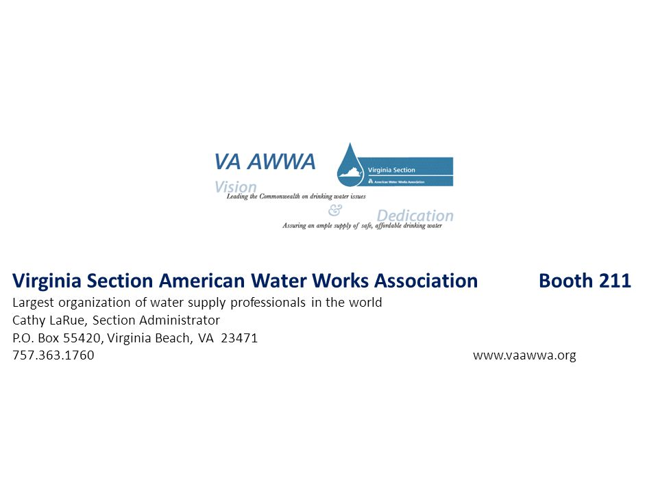 Virginia Section American Water Works Association Booth 211