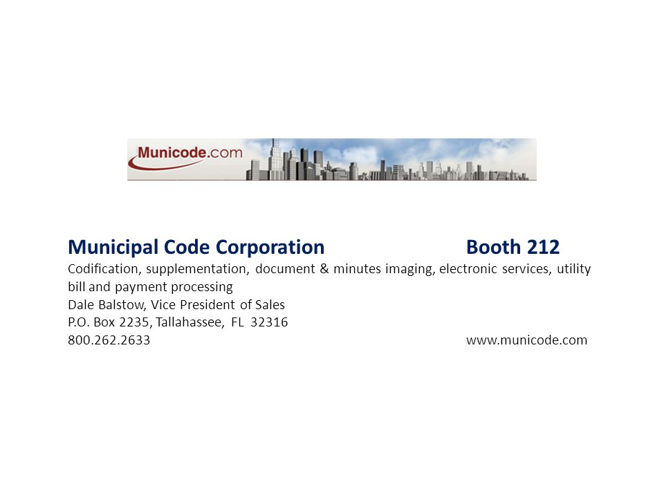 Municipal Code Corporation Booth 212