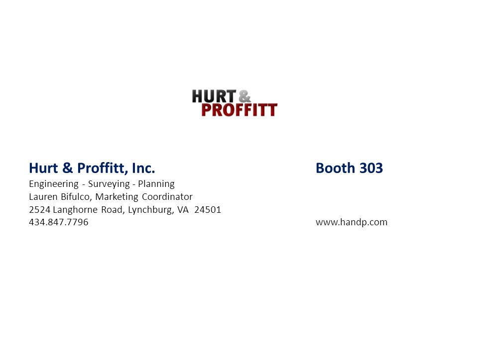 Hurt & Proffitt, Inc. Booth 303