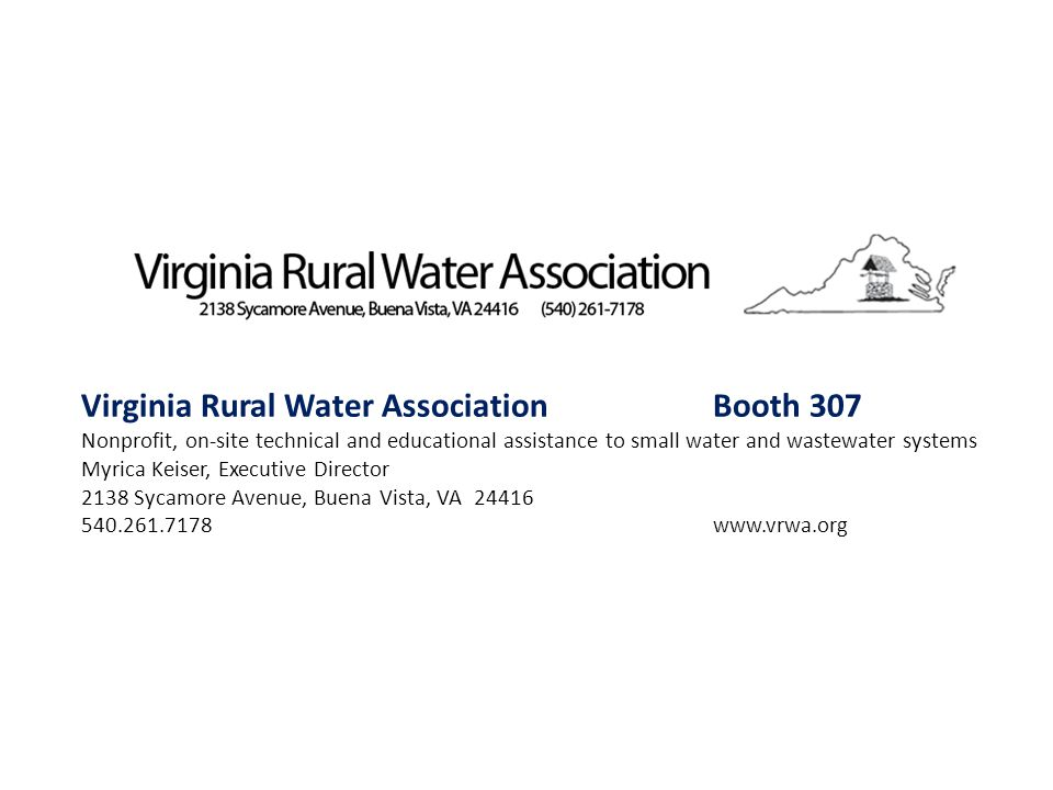Virginia Rural Water Association Booth 307