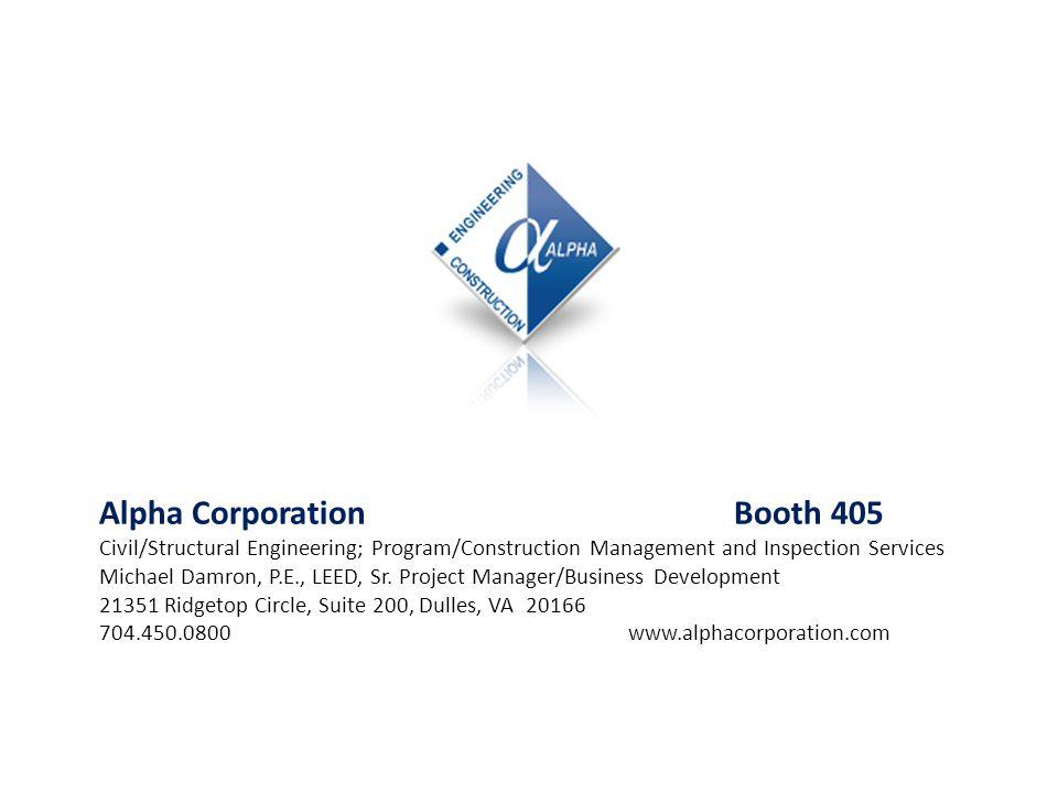 Alpha Corporation Booth 405