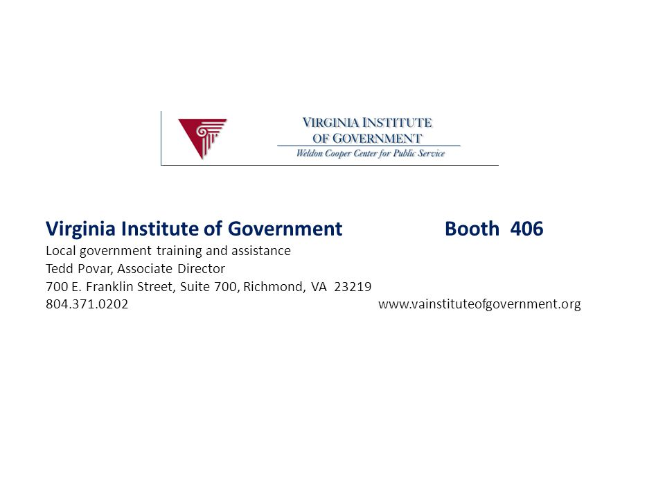 Virginia Institute of Government Booth 406