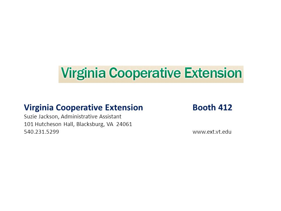 Virginia Cooperative Extension Booth 412