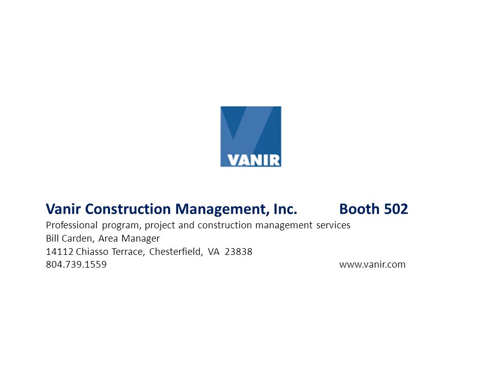 Vanir Construction Management, Inc. Booth 502