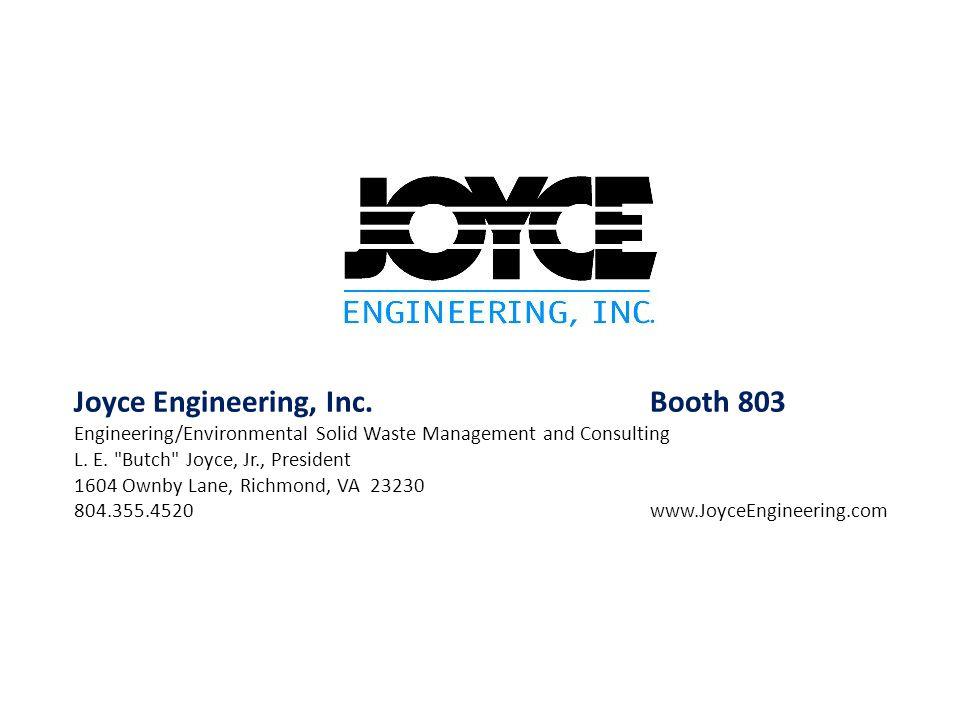 Joyce Engineering, Inc. Booth 803