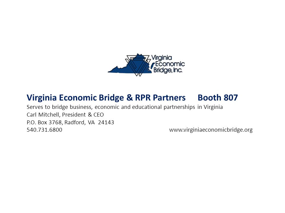 Virginia Economic Bridge & RPR Partners Booth 807