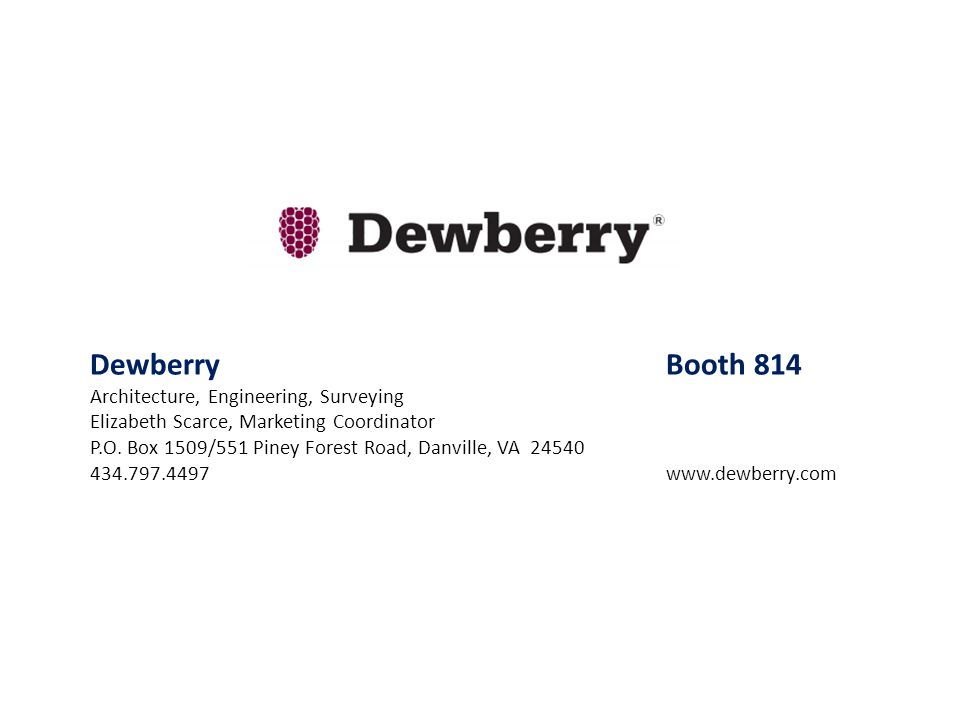 Dewberry Booth 814 Architecture, Engineering, Surveying