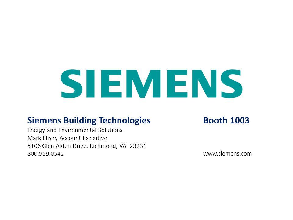 Siemens Building Technologies Booth 1003