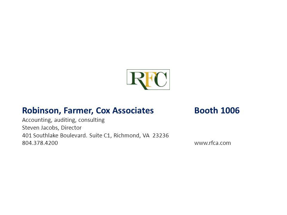 Robinson, Farmer, Cox Associates Booth 1006