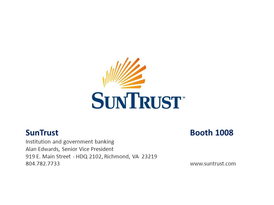 SunTrust Booth 1008 Institution and government banking