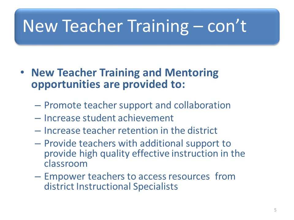 New Teacher Training and Mentoring opportunities are provided to: