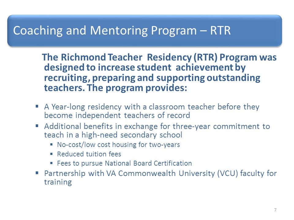 Coaching and Mentoring Program – RTR