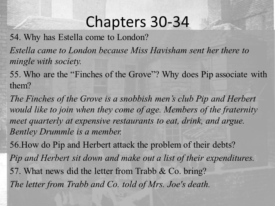 Chapters 30-34 Why has Estella come to London