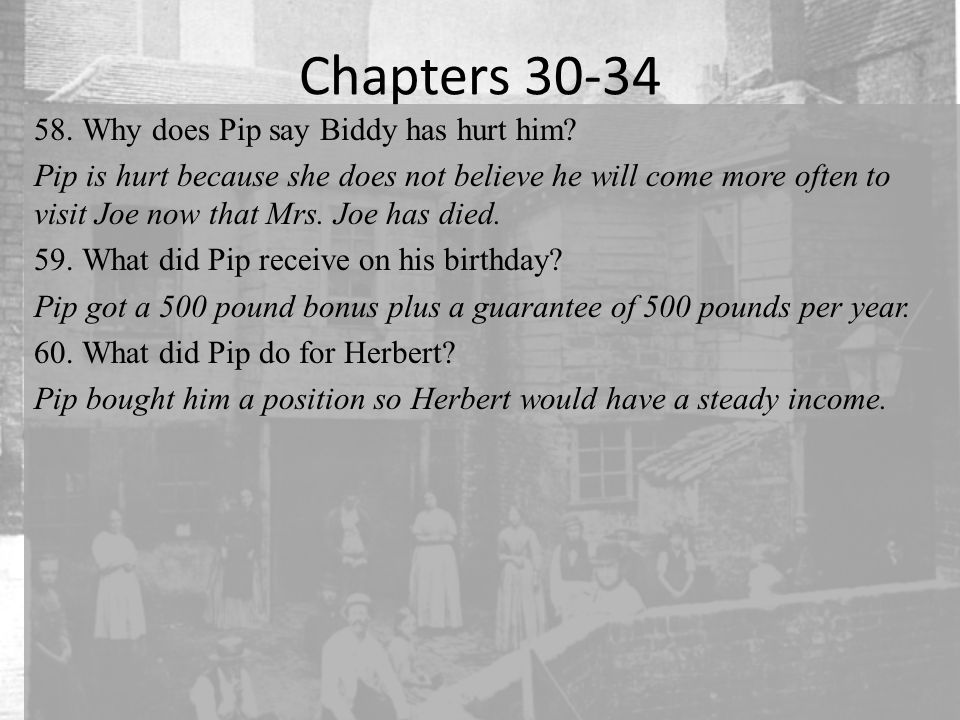 Chapters 30-34 Why does Pip say Biddy has hurt him