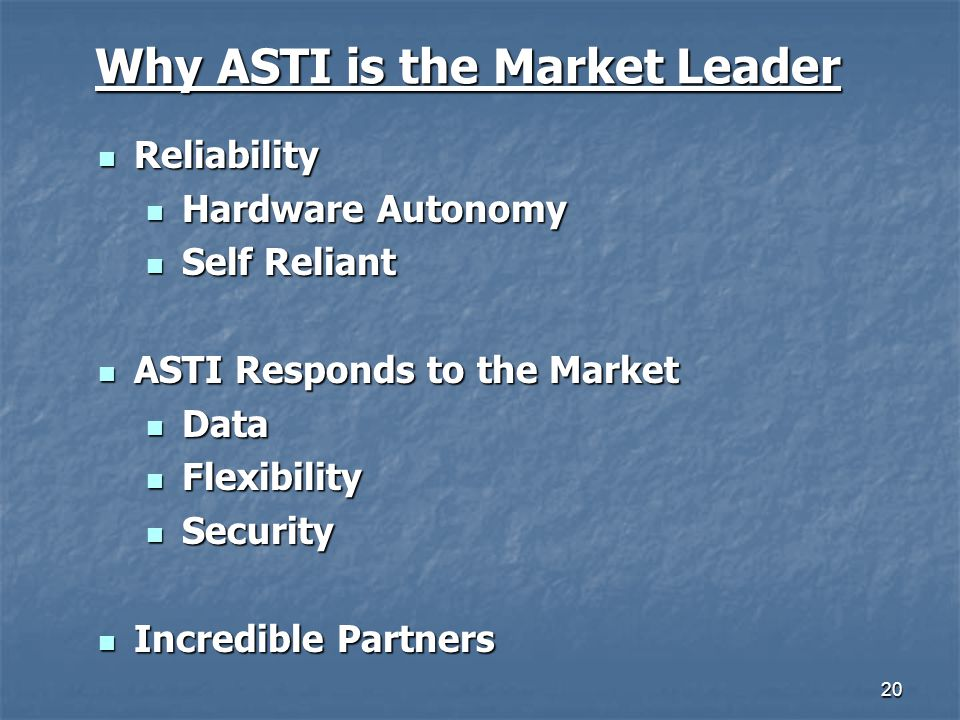 Why ASTI is the Market Leader