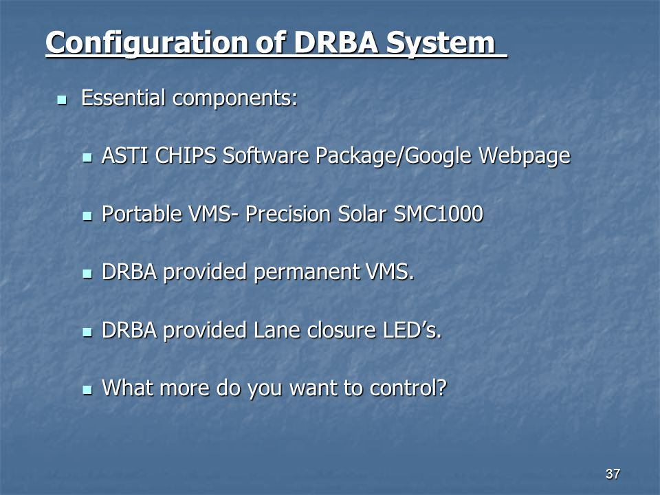 Configuration of DRBA System