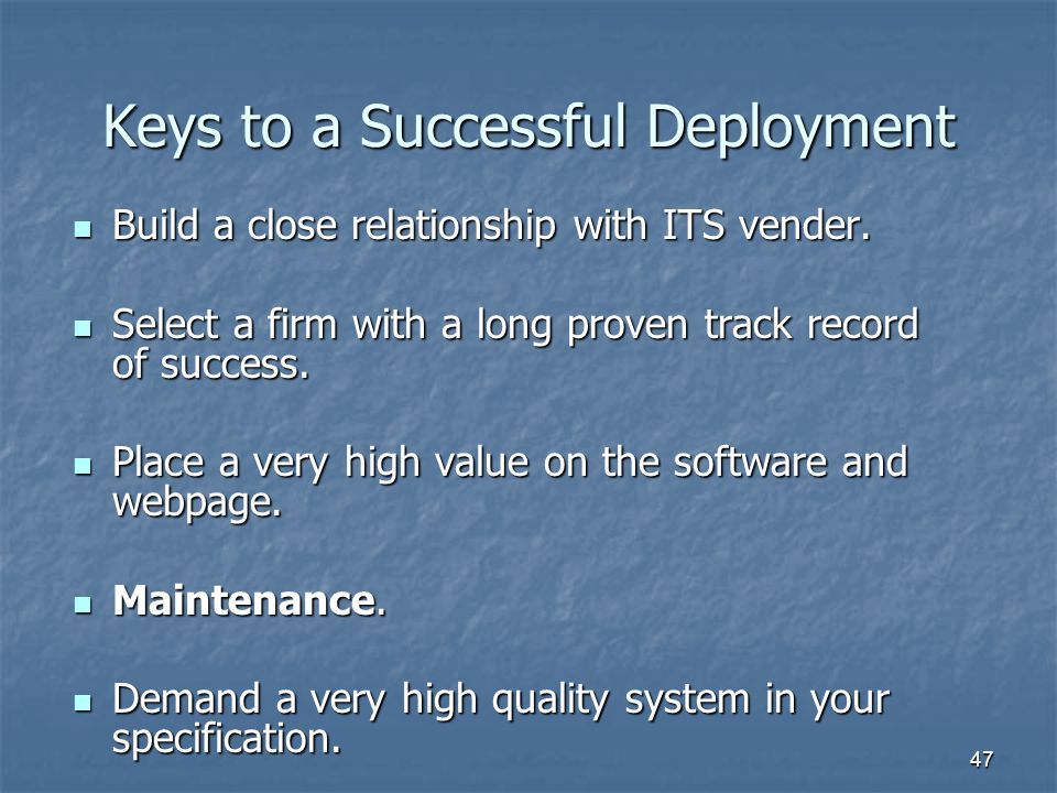 Keys to a Successful Deployment