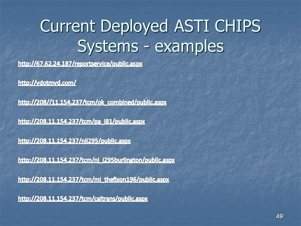 Current Deployed ASTI CHIPS Systems - examples