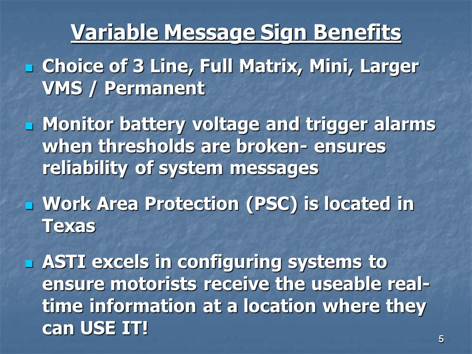 Variable Message Sign Benefits