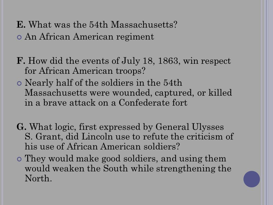 E. What was the 54th Massachusetts