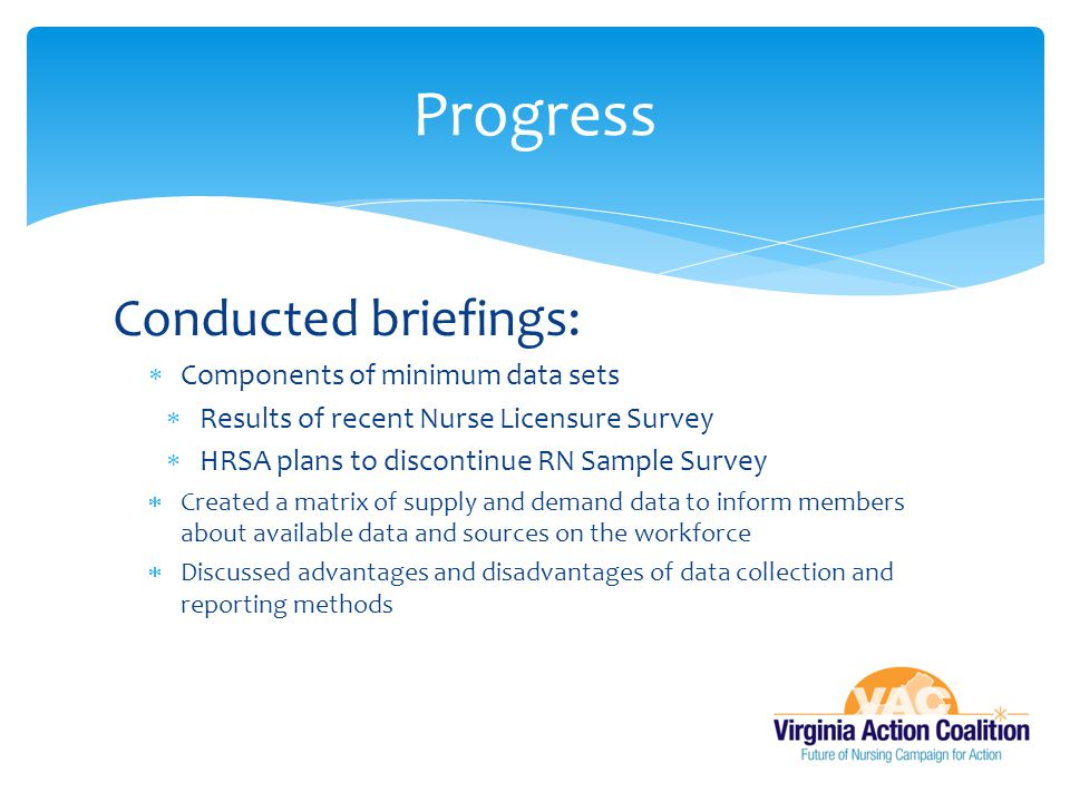 Progress Conducted briefings: Components of minimum data sets