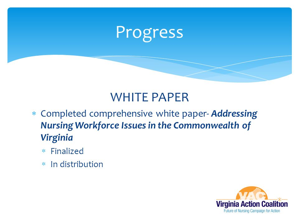 Progress WHITE PAPER. Completed comprehensive white paper- Addressing Nursing Workforce Issues in the Commonwealth of Virginia.