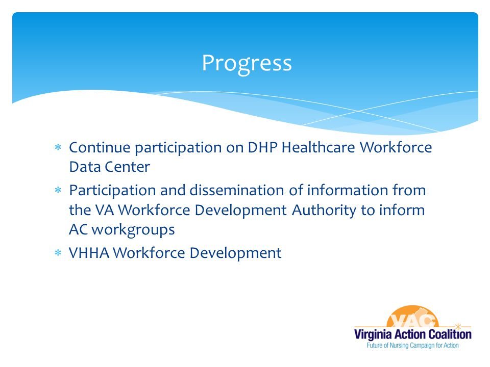 Progress Continue participation on DHP Healthcare Workforce Data Center.