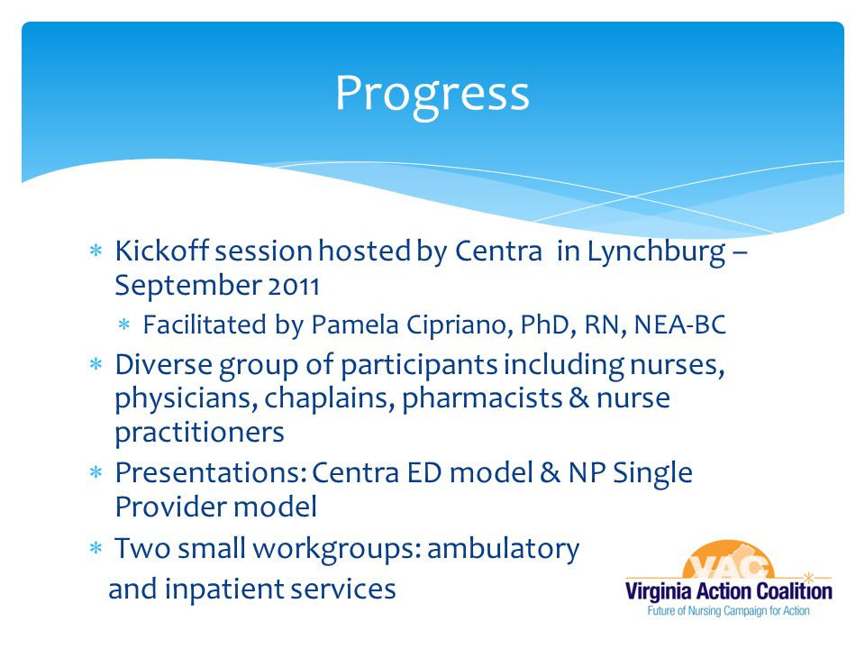 Progress Kickoff session hosted by Centra in Lynchburg – September 2011. Facilitated by Pamela Cipriano, PhD, RN, NEA-BC.