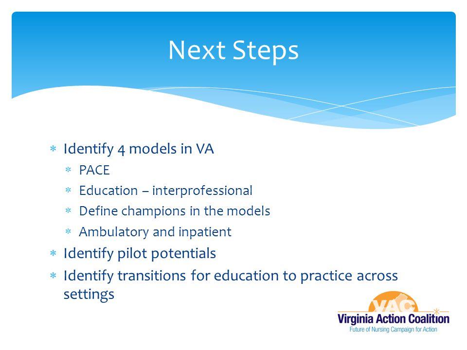 Next Steps Identify 4 models in VA Identify pilot potentials