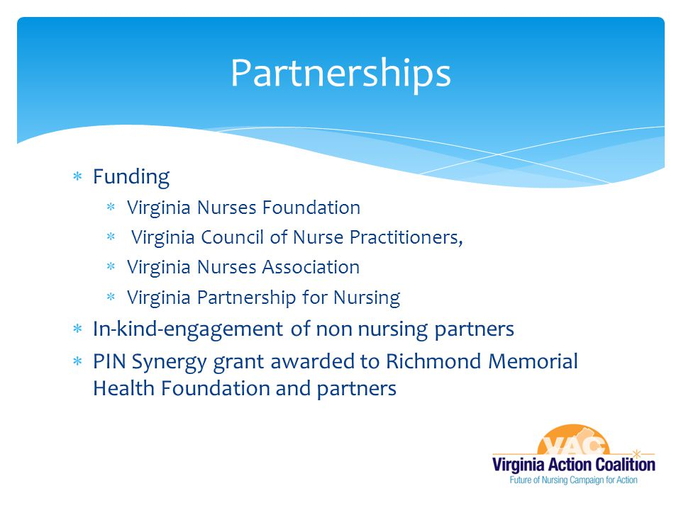Partnerships Funding In-kind-engagement of non nursing partners