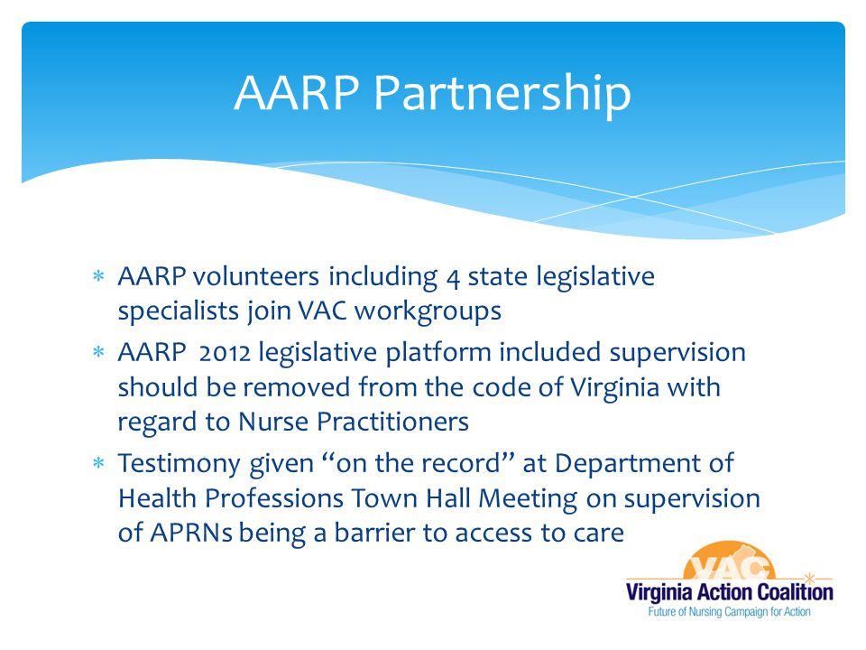 AARP Partnership AARP volunteers including 4 state legislative specialists join VAC workgroups.