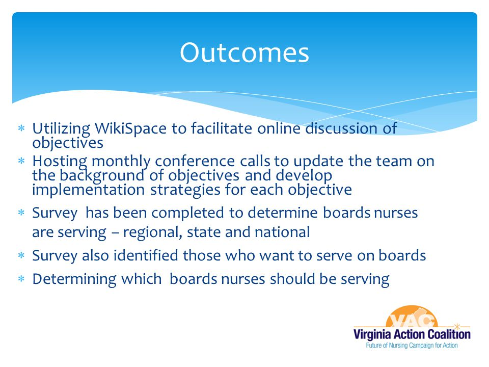 Outcomes Utilizing WikiSpace to facilitate online discussion of objectives.