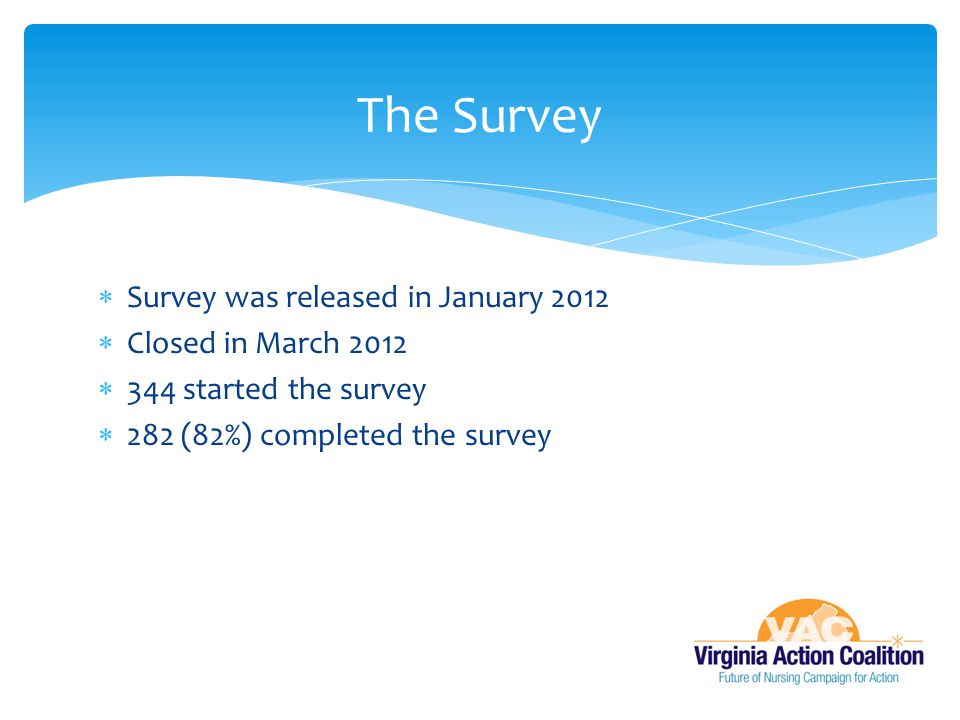 The Survey Survey was released in January 2012 Closed in March 2012