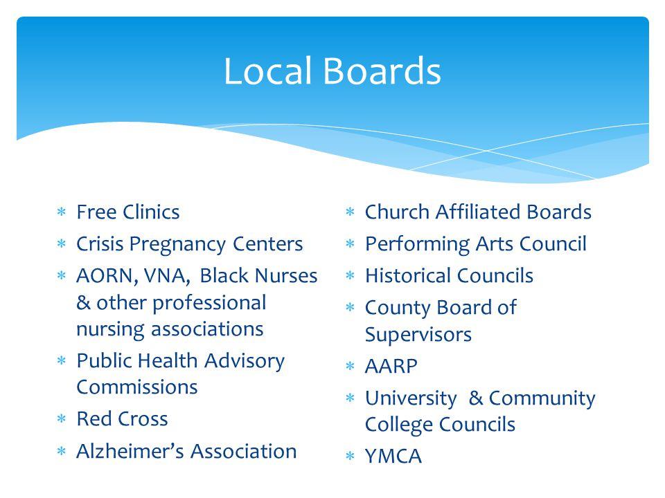 Local Boards Free Clinics Crisis Pregnancy Centers
