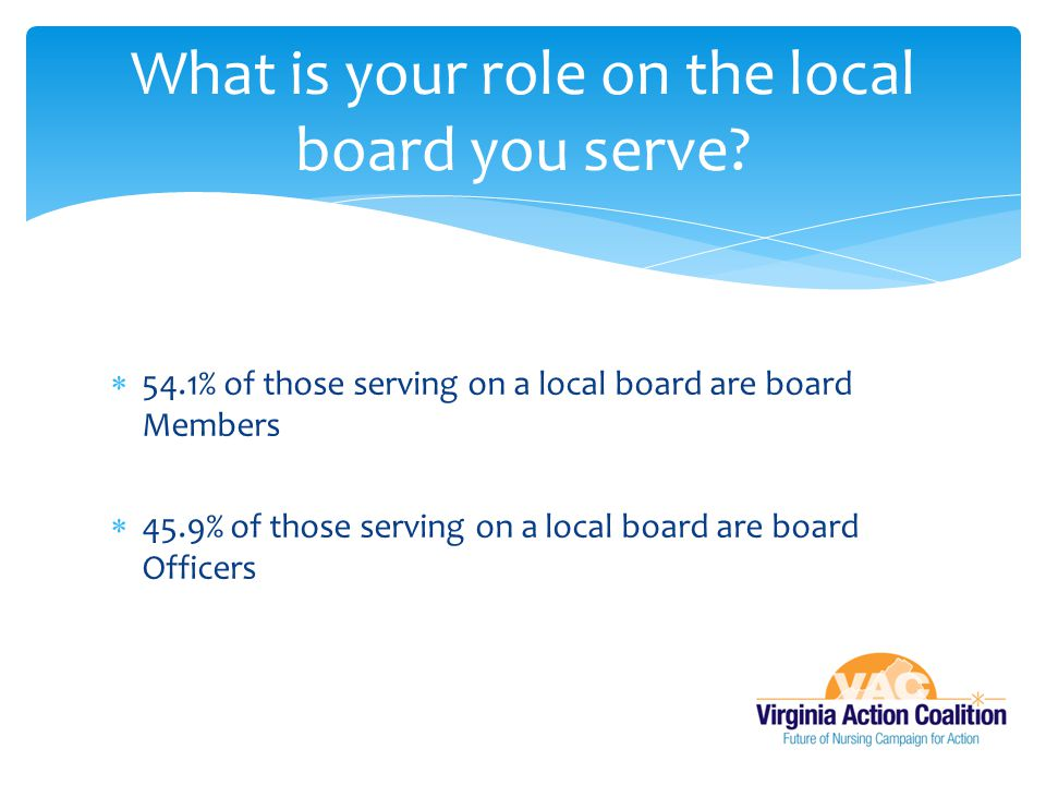 What is your role on the local board you serve
