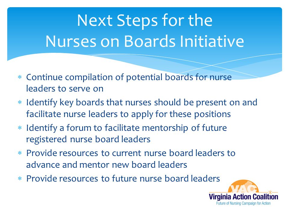 Next Steps for the Nurses on Boards Initiative